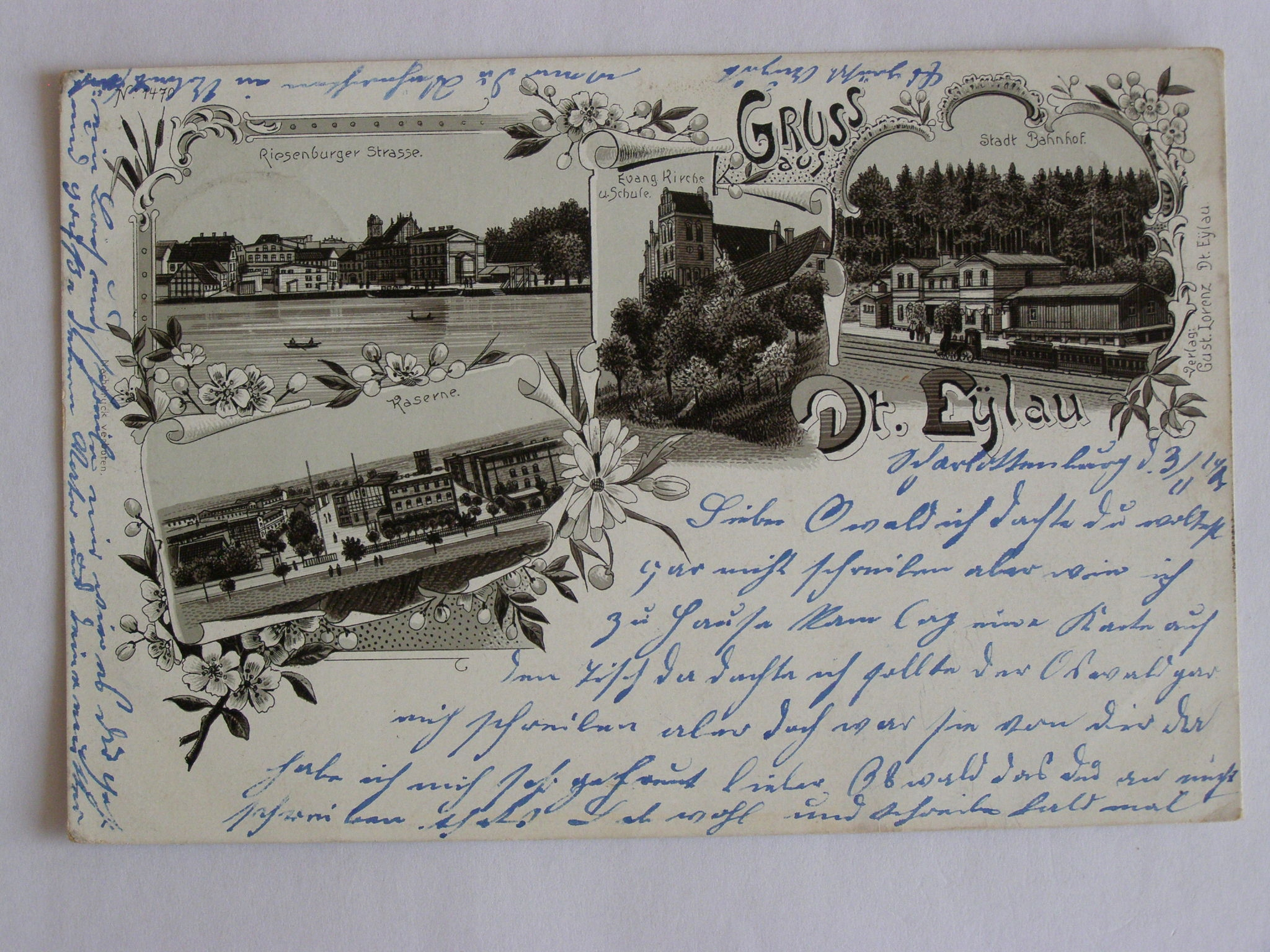 Ilawa Dt. Железнодорожный вокзал Эйлау Оструда город 1901 литс