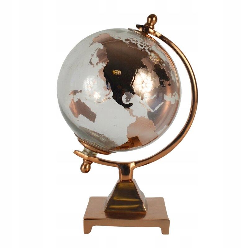 Dekoracyjny Globus Kula ziemska złoty
