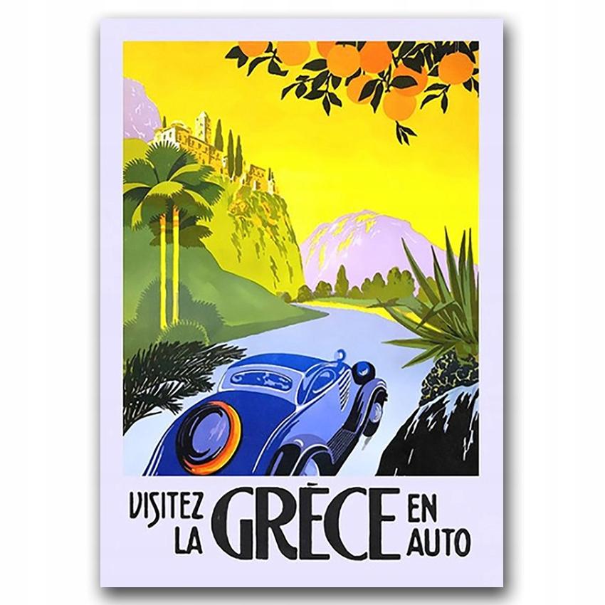 Retro plagát do obývačky Greece En Auto A3 30x40cm