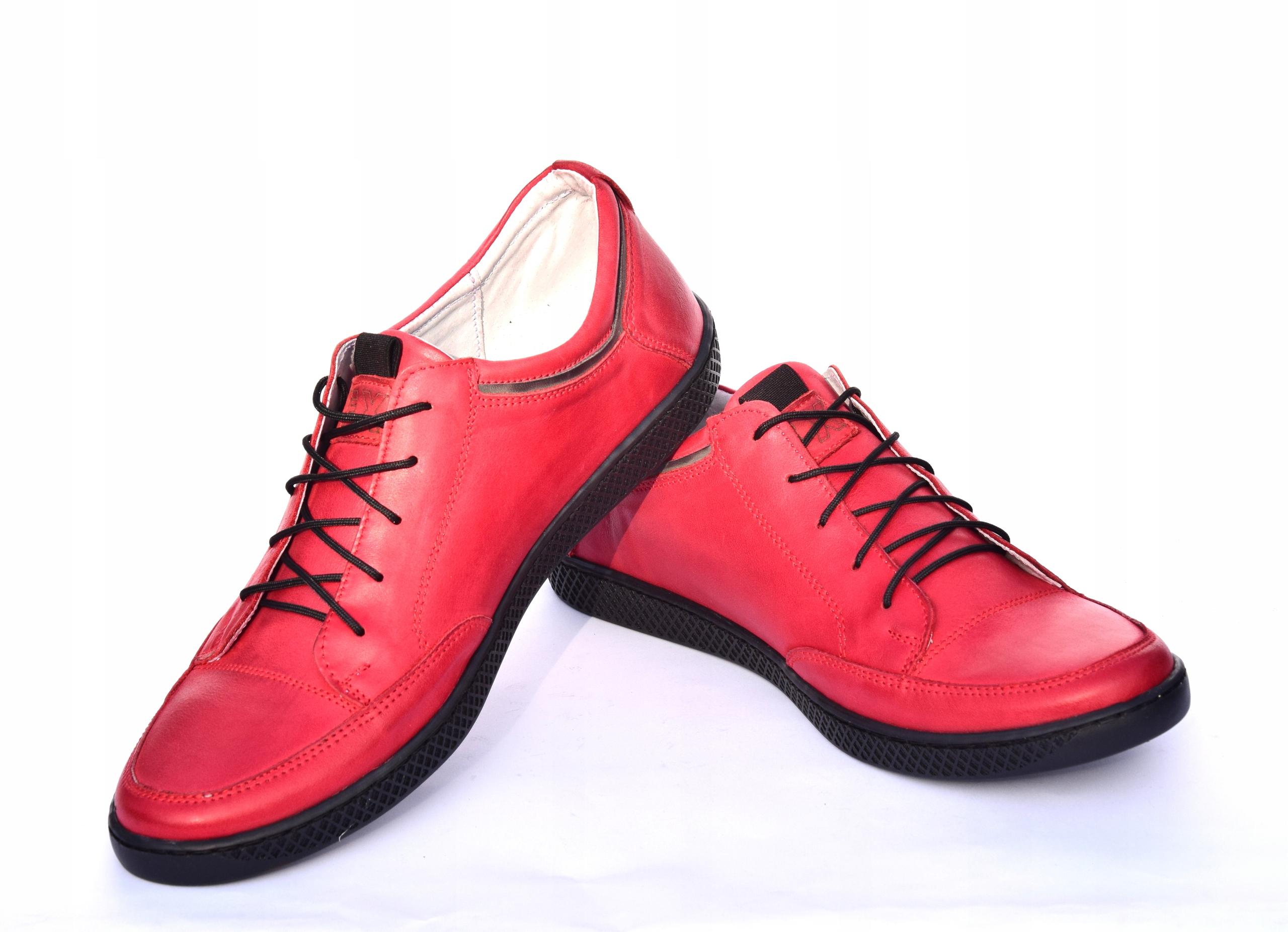 Skórzane czerwone sznurowane półbuty czerwone 0447 Okazja casual (na co dzień)