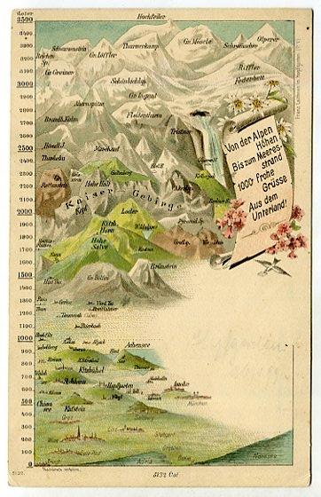 ГЕРМАНИЯ - АЛЬПЫ - карта - около 1900 г.