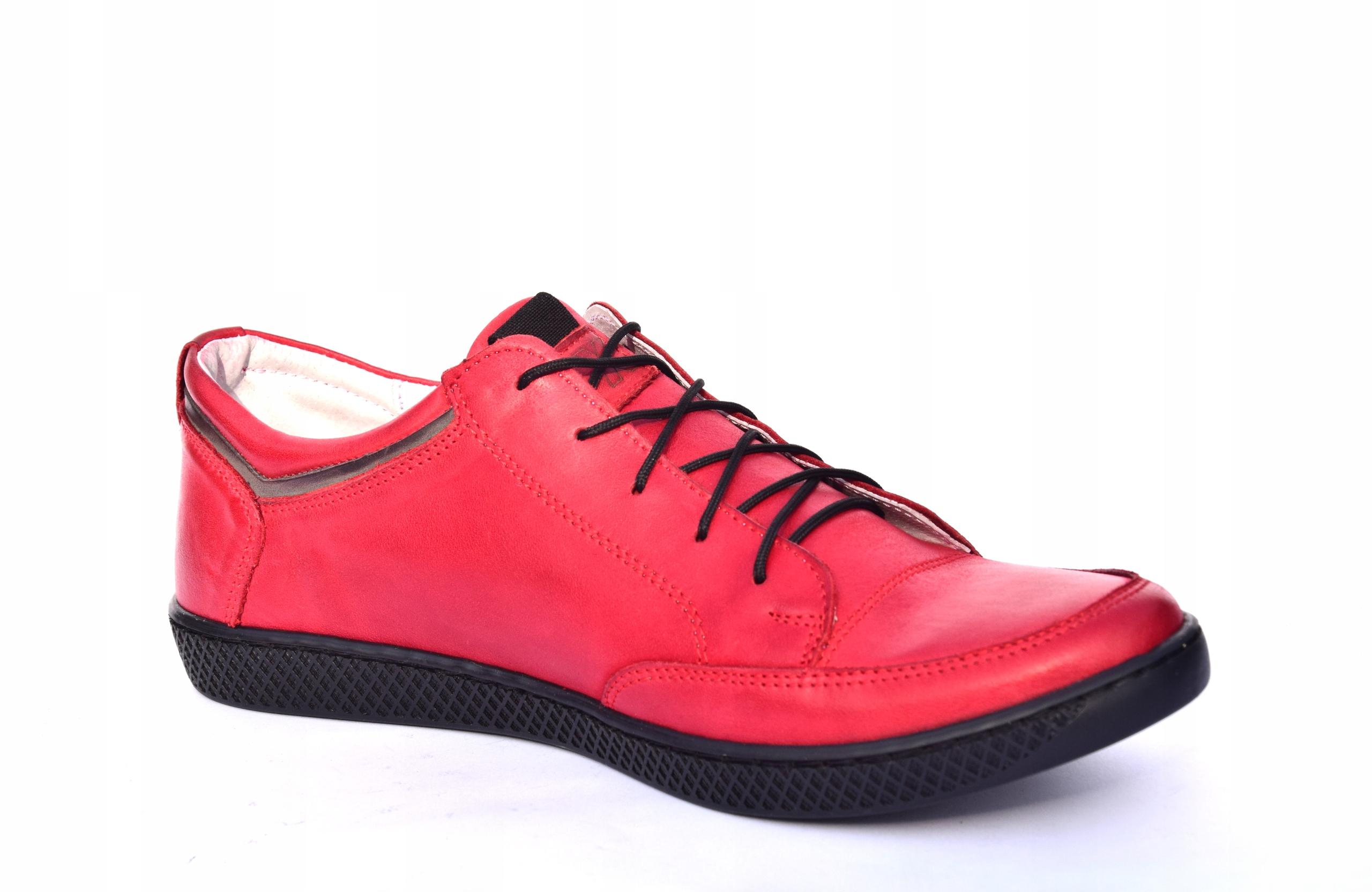 Skórzane czerwone sznurowane półbuty czerwone 0447 Długość wkładki 28.7 cm