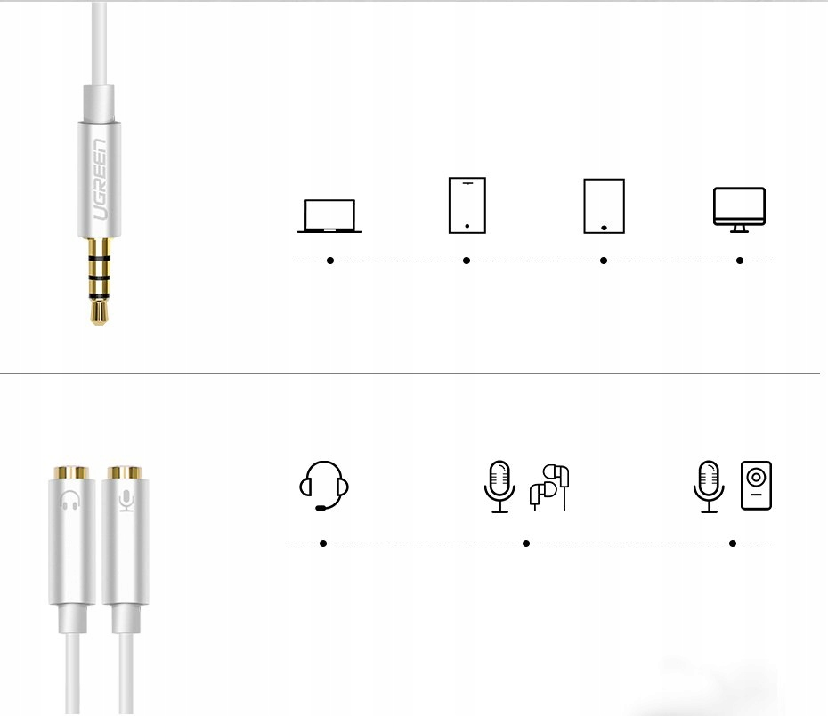 Cable cord headphone splitter 3.5 mm mini USB connectors - other connector