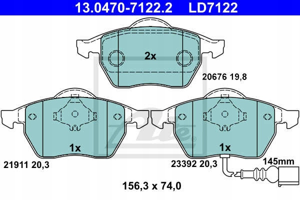 Picture of ROTORS BRAKE PADS (FRONT) ATE VW GOLF IV 1.8 125KM