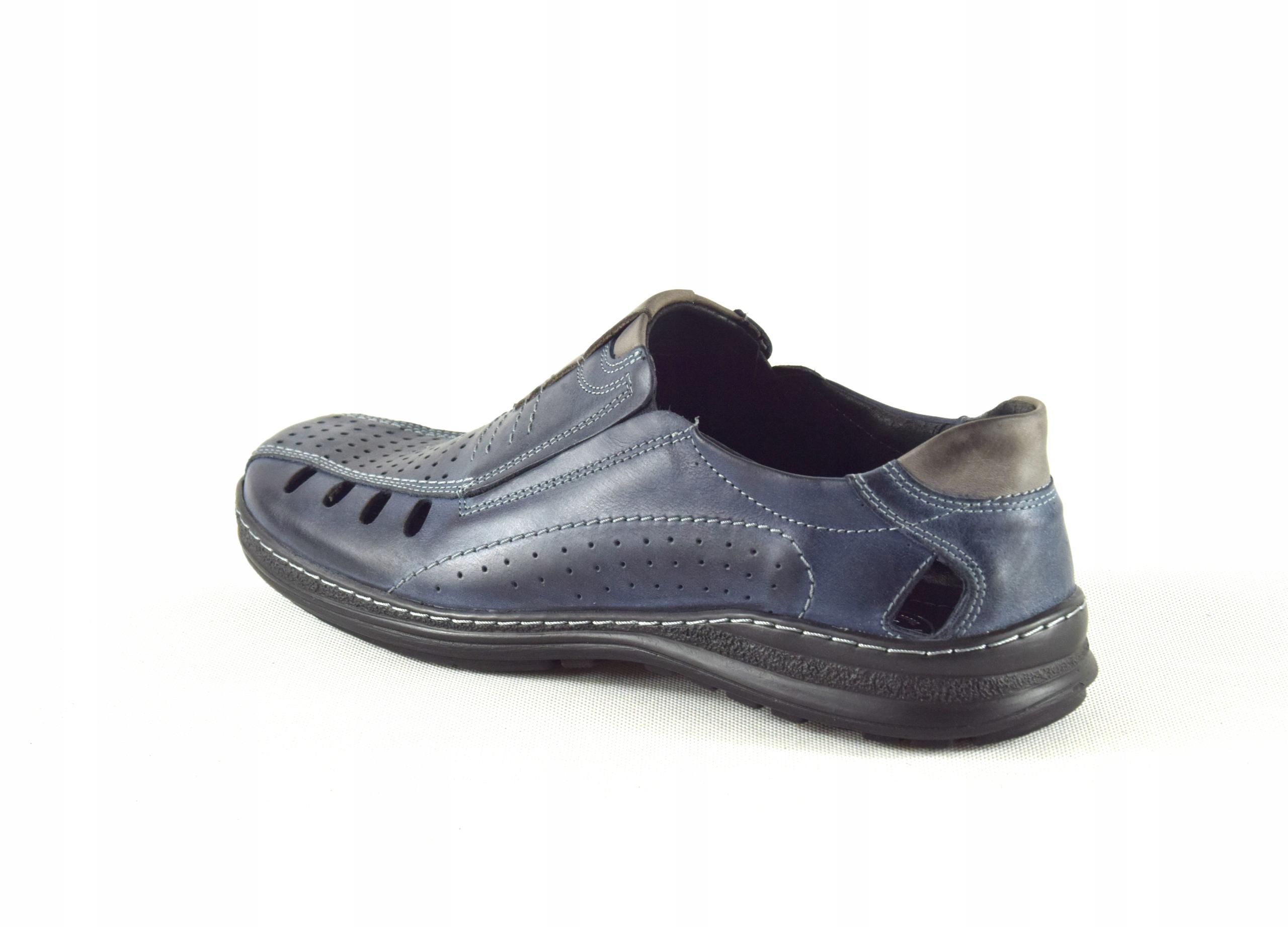 Lekkie dziurkowane męskie buty ze skóry PL 190L Długość wkładki 30 cm