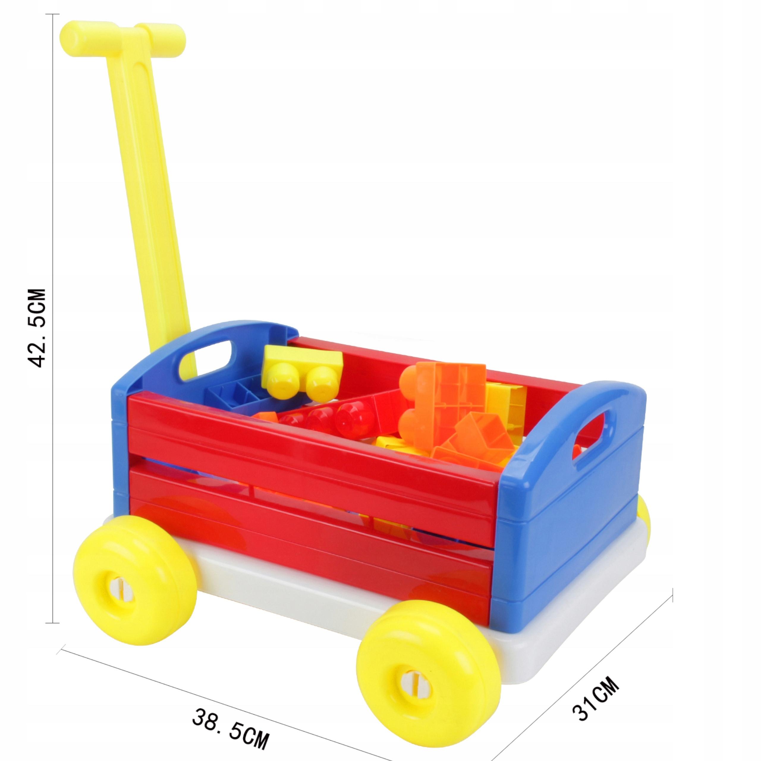 Duży wózek z rączką taczka przyczepa 74 cm 6660-8 Szerokość produktu 38 cm