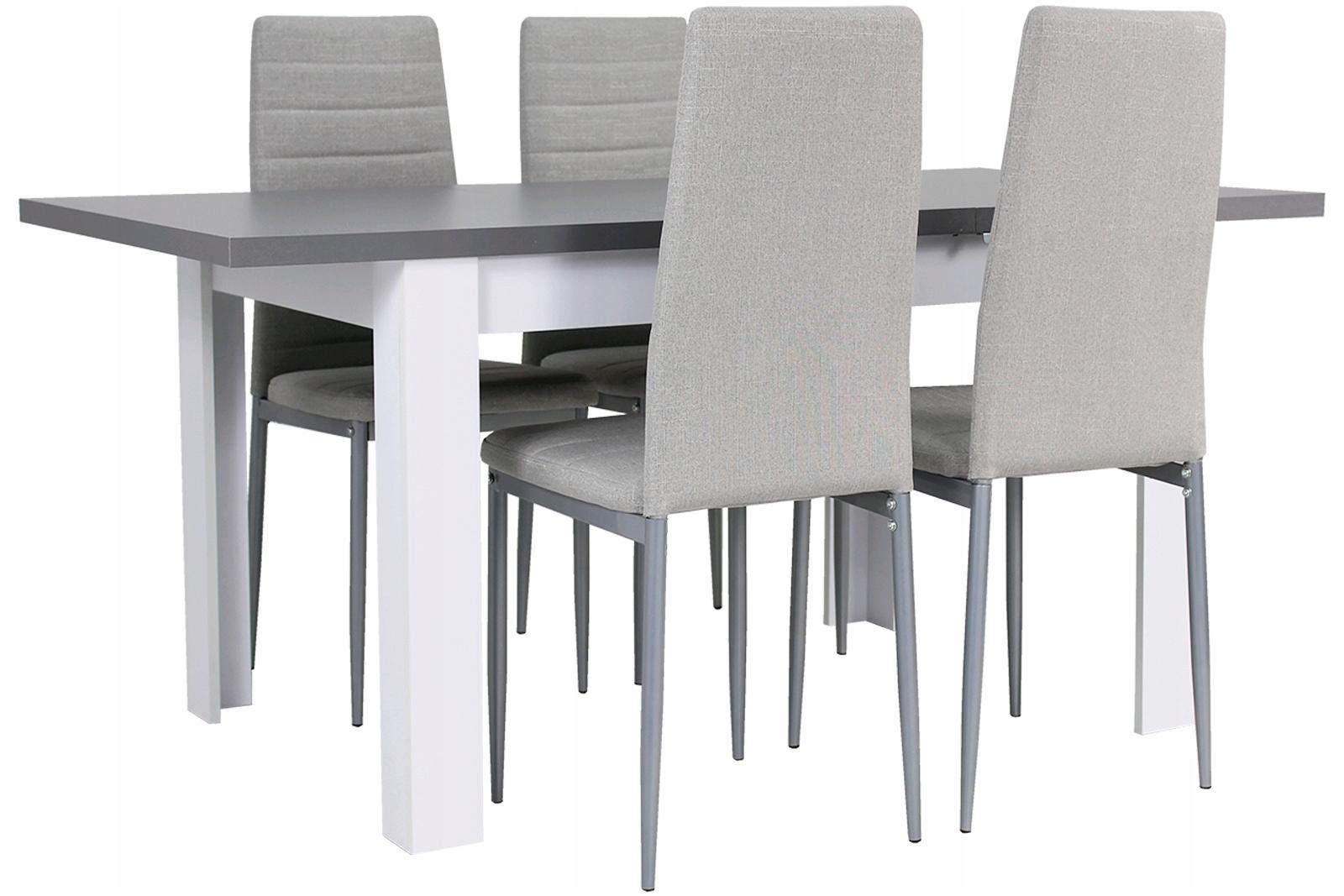 Modny zestaw STÓŁ ROZKŁADANY i 4 krzesła SZARE