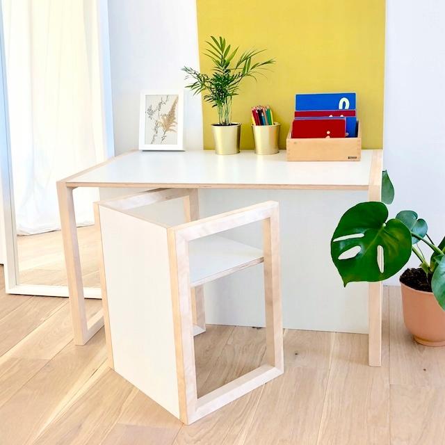 Комплект 1-6 лет. Письменный стол, стул Монтессори, деревянный