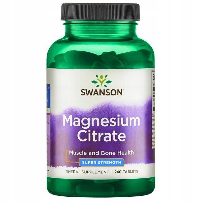 Swanson MAGNEZ Cytrynian magnezu 240 tabs.