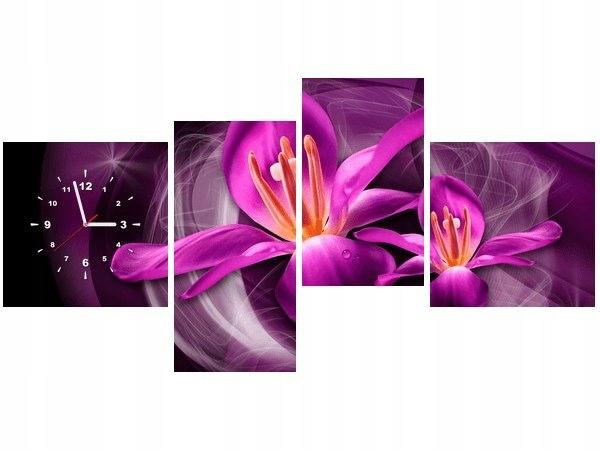 45cm 120cm Zegar 4 elem Różowe kosmiczne kwiaty Ja