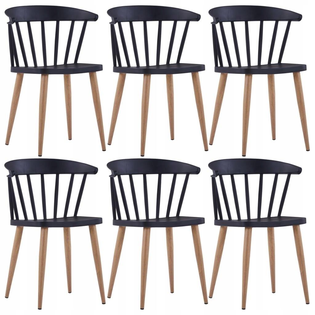 Stoličky, jedálenské, 6 Ks., čierna, plastu a ocele