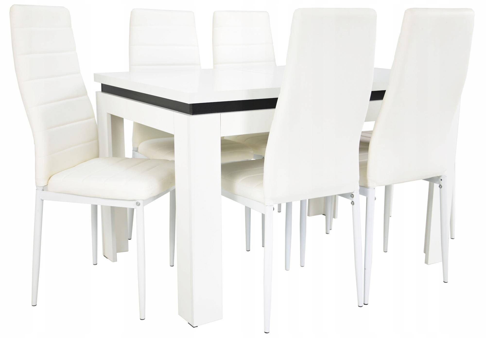 Stół do salonu rozkładany i 6 krzeseł EKOSKÓRA