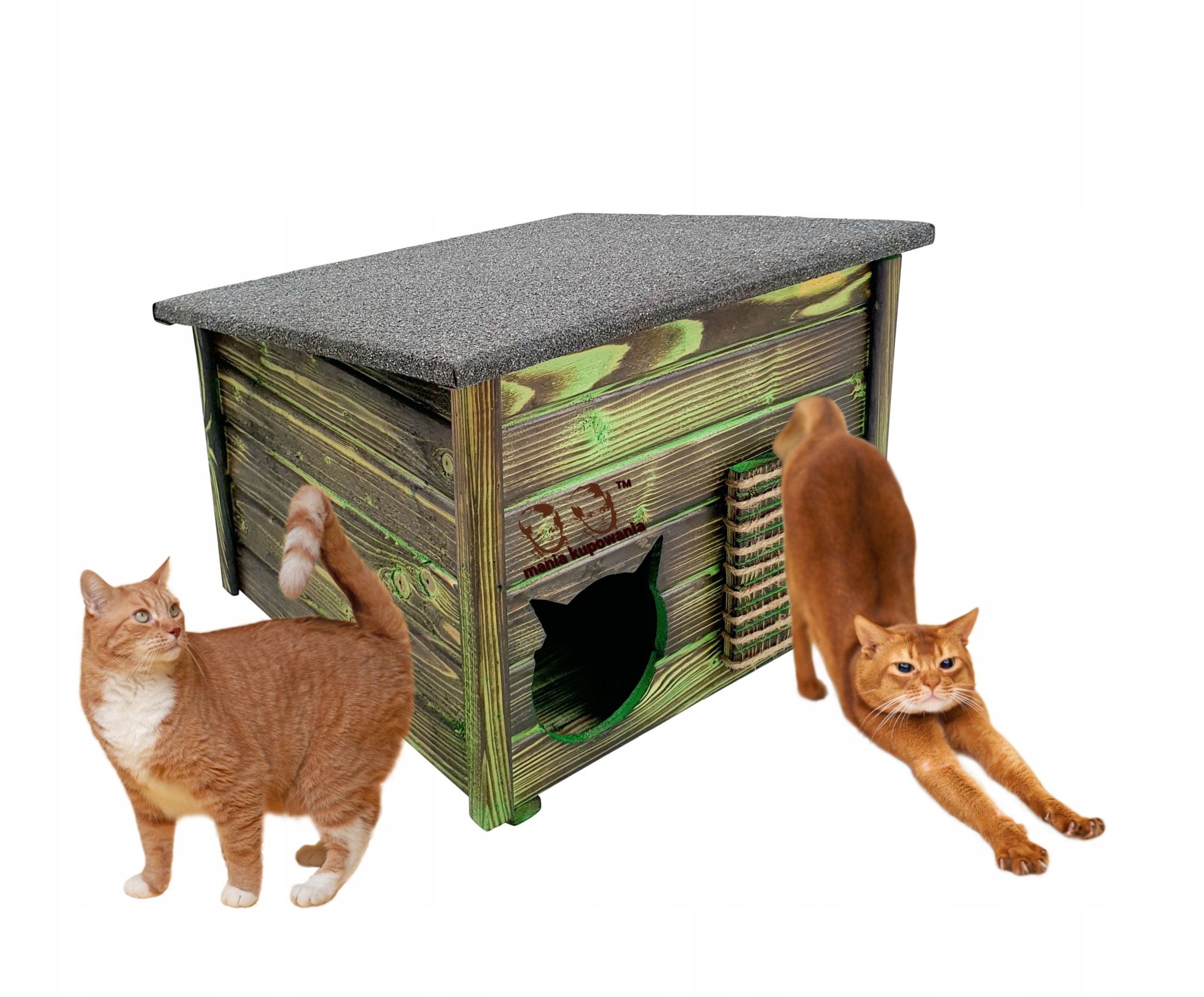 Большой деревянный питомник для кошек с когтеточкой размера XXL