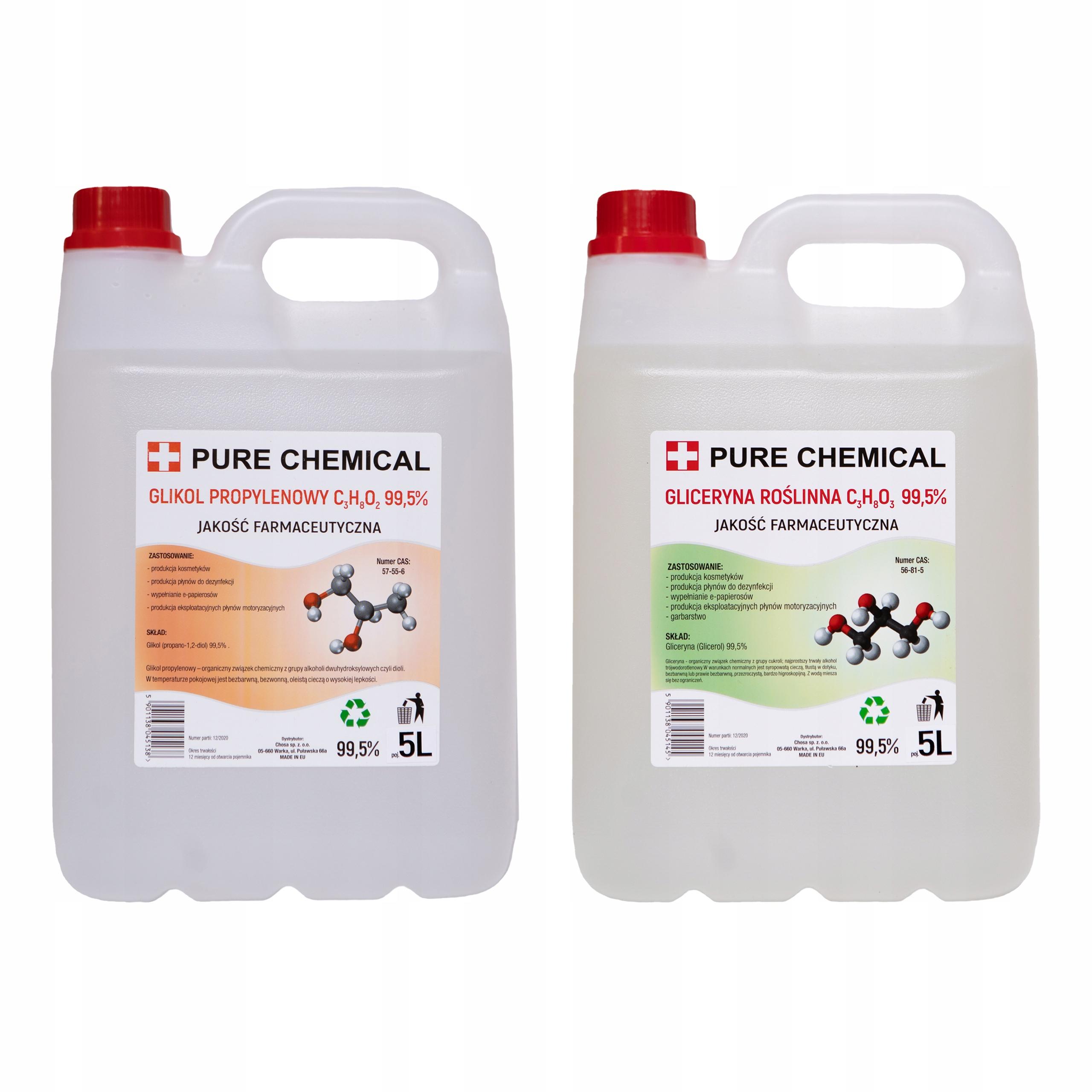 Glikol propylenowy 5l + Gliceryna roślina 5l ~12kg