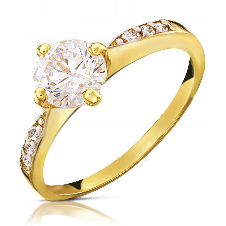 Złoty Pierścionek Zaręczynowy 585 14K Cyrkonia r17