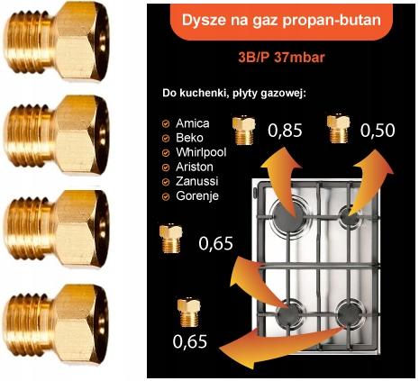DYSZE GAZ PROPAN-BUTAN KUCHENKI GAZOWEJ:Amica,Beko
