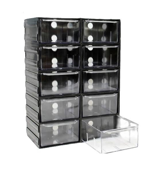 Plastová skrinka 10 Transparentné zásuvky hriadeľa