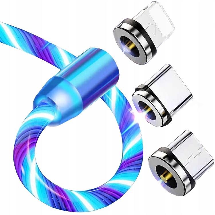 KABEL MAGNETYCZNY DO IPHONE MICRO USB TYP-C 200cm