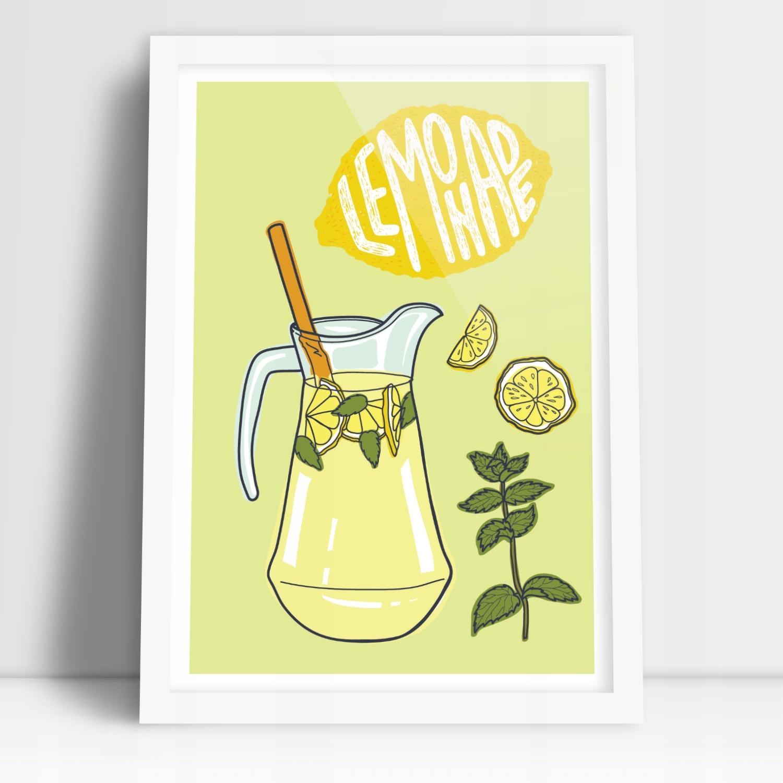 Красочный плакат для кухонного лимонада в кувшине А3