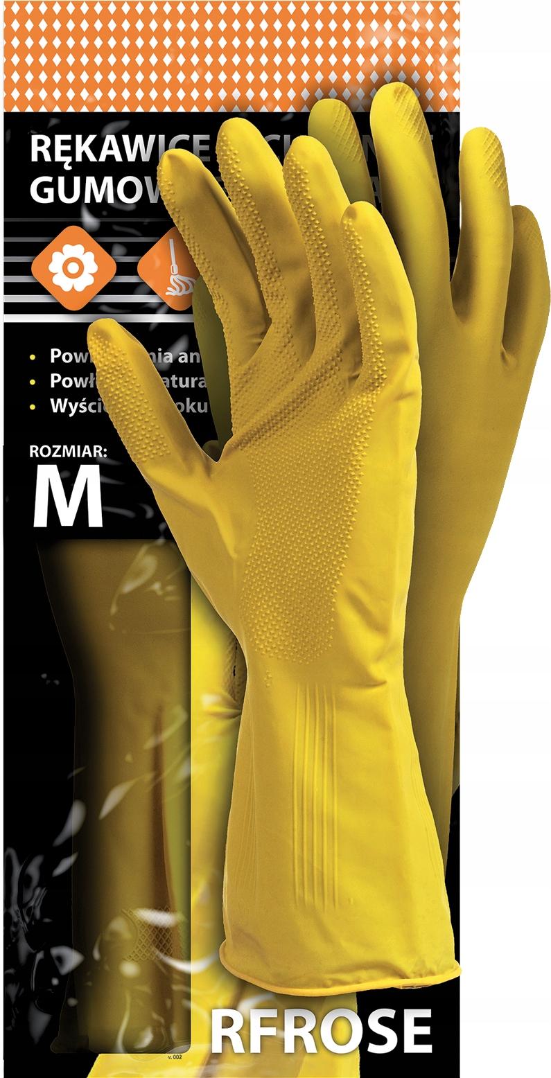 Перчатки хозяйственные резиновые флокированные