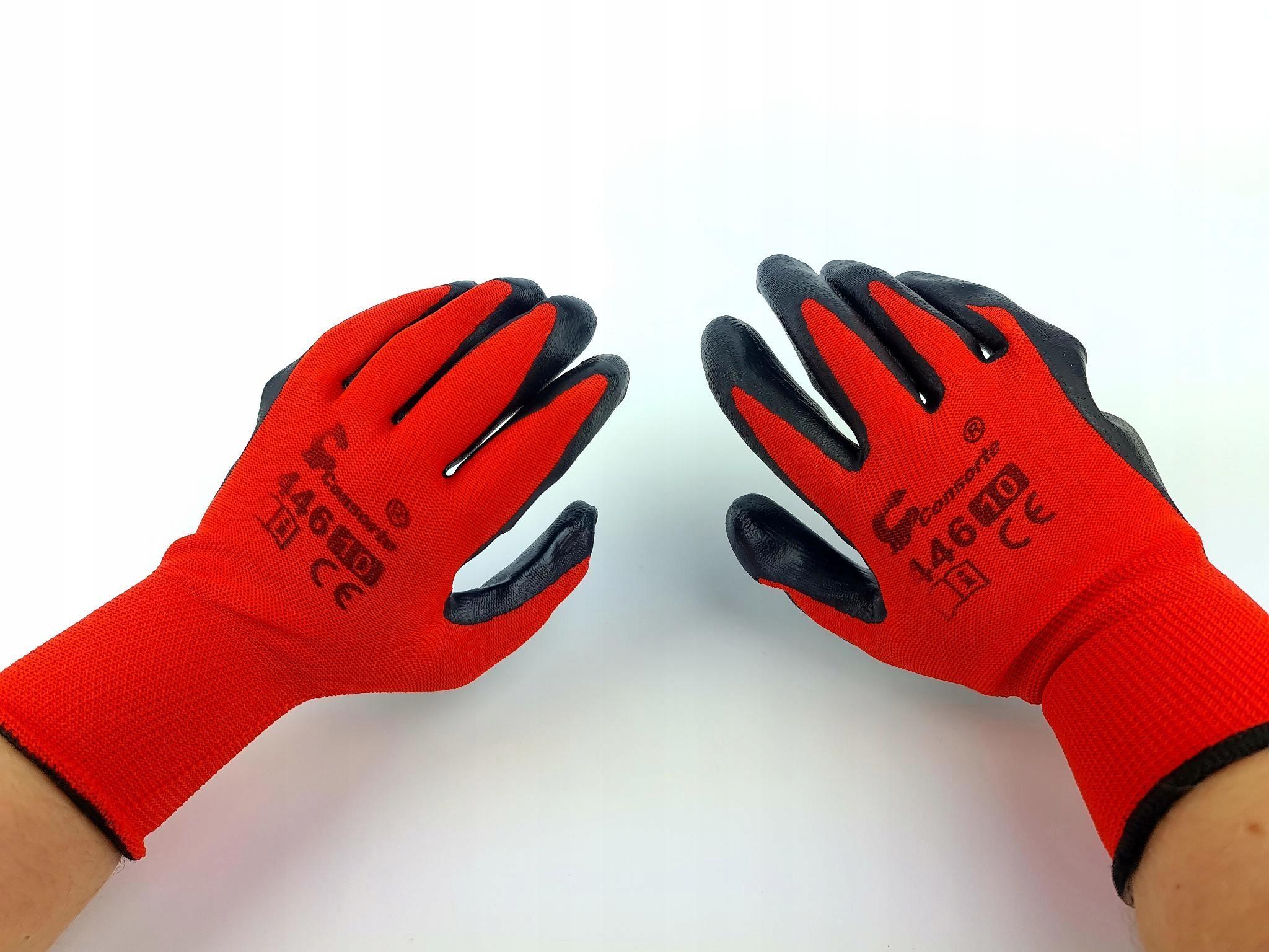 Перчатки рабочие STRONG красный нитрил черный r 10