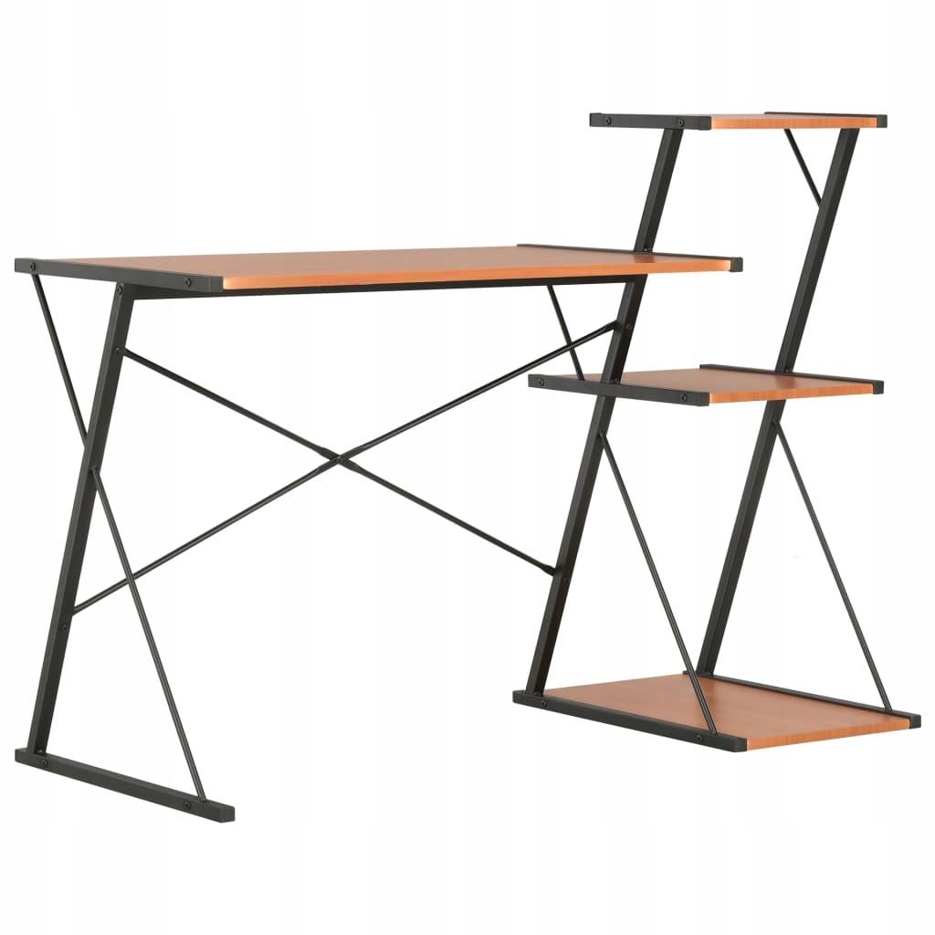 Písací stôl s reproduktory, čierno-hnedá, 116 x 50 x 93 cm