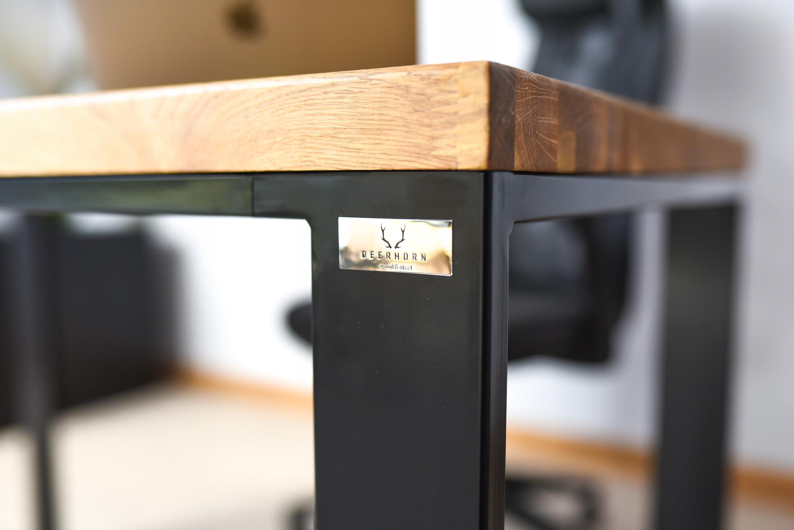 Biurko z drewnianym blatem czarne 12x12cm
