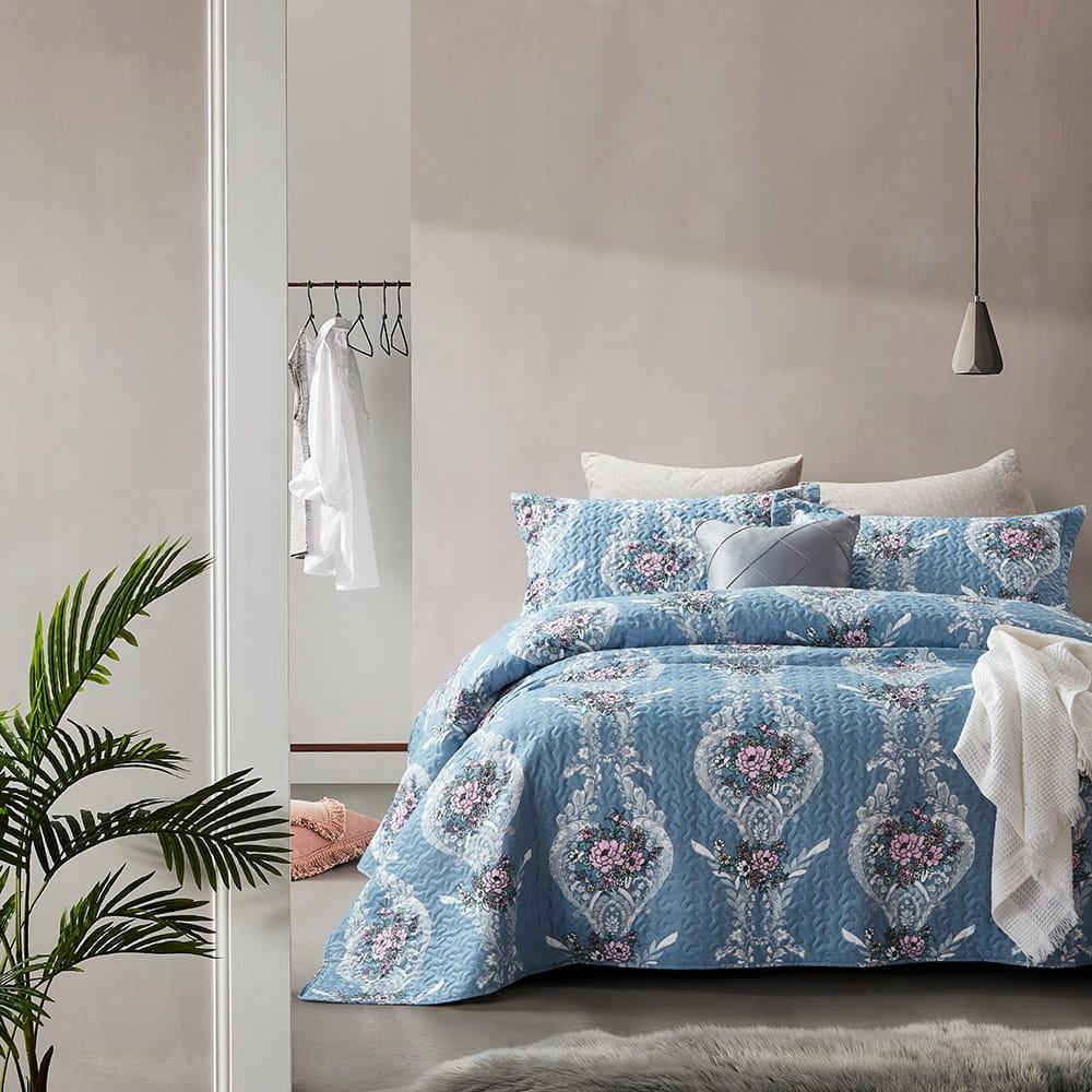 Prehoz cez posteľ s vankúš Retro modrý Kvet K. 180x2