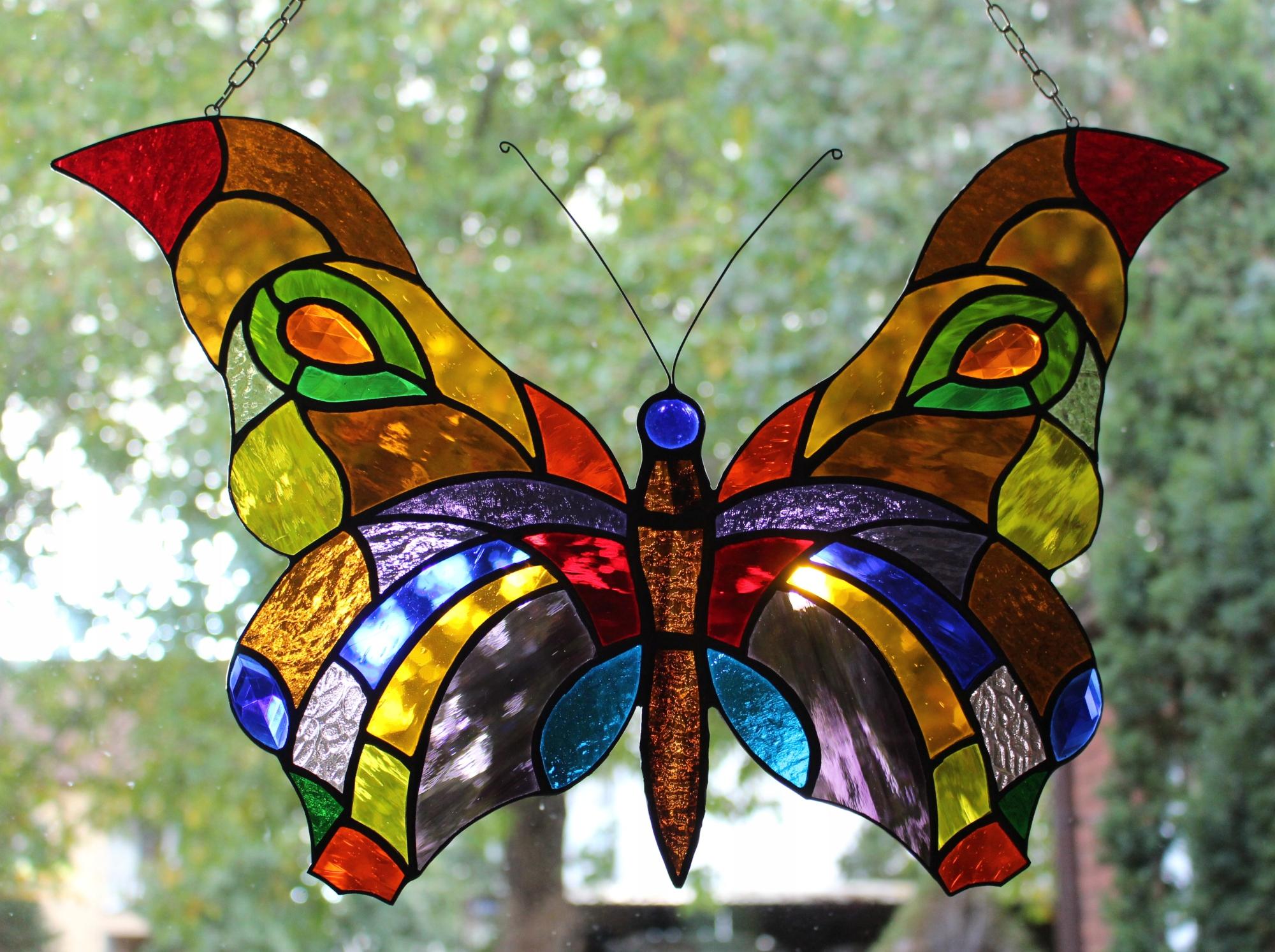 Цветное стекло бабочка Tiffany Butterfly витраж B1