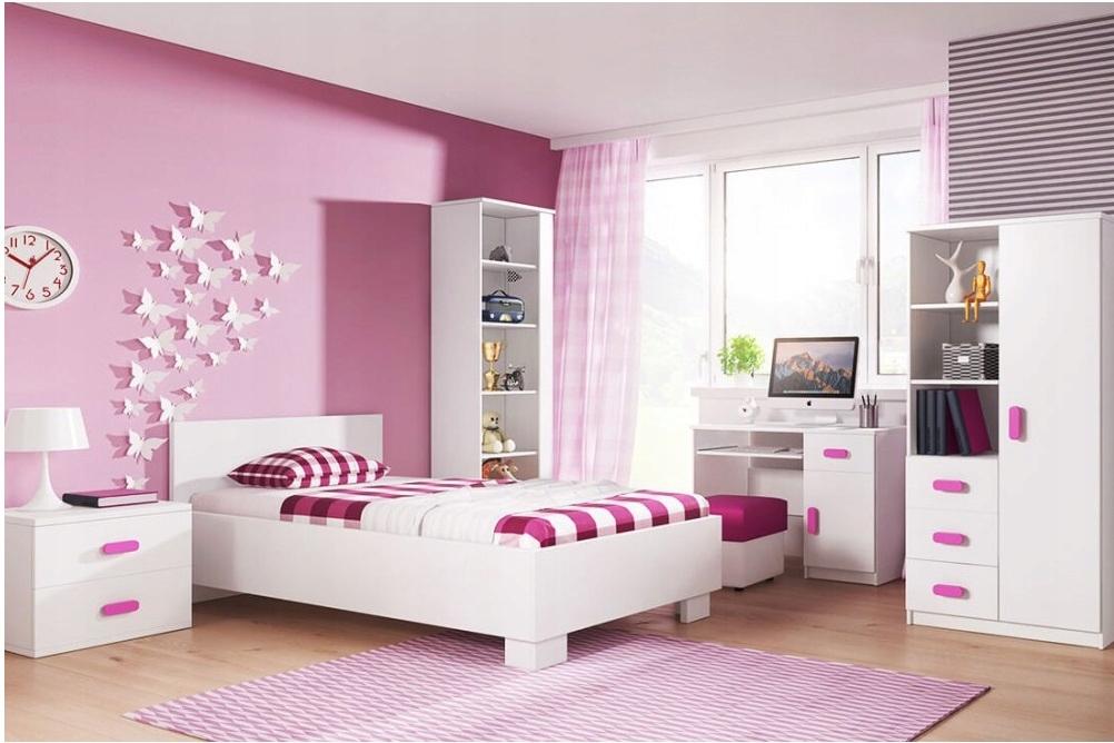 Комплект детской мебели с кроватью, книжным шкафом, БЕЛЫМ ковриком.
