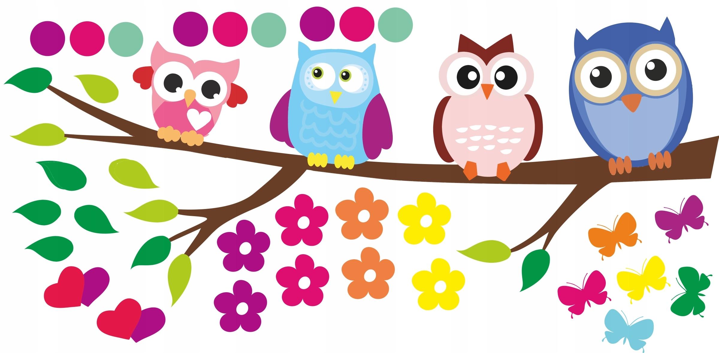 Наклейки совы на ветке для детской комнаты