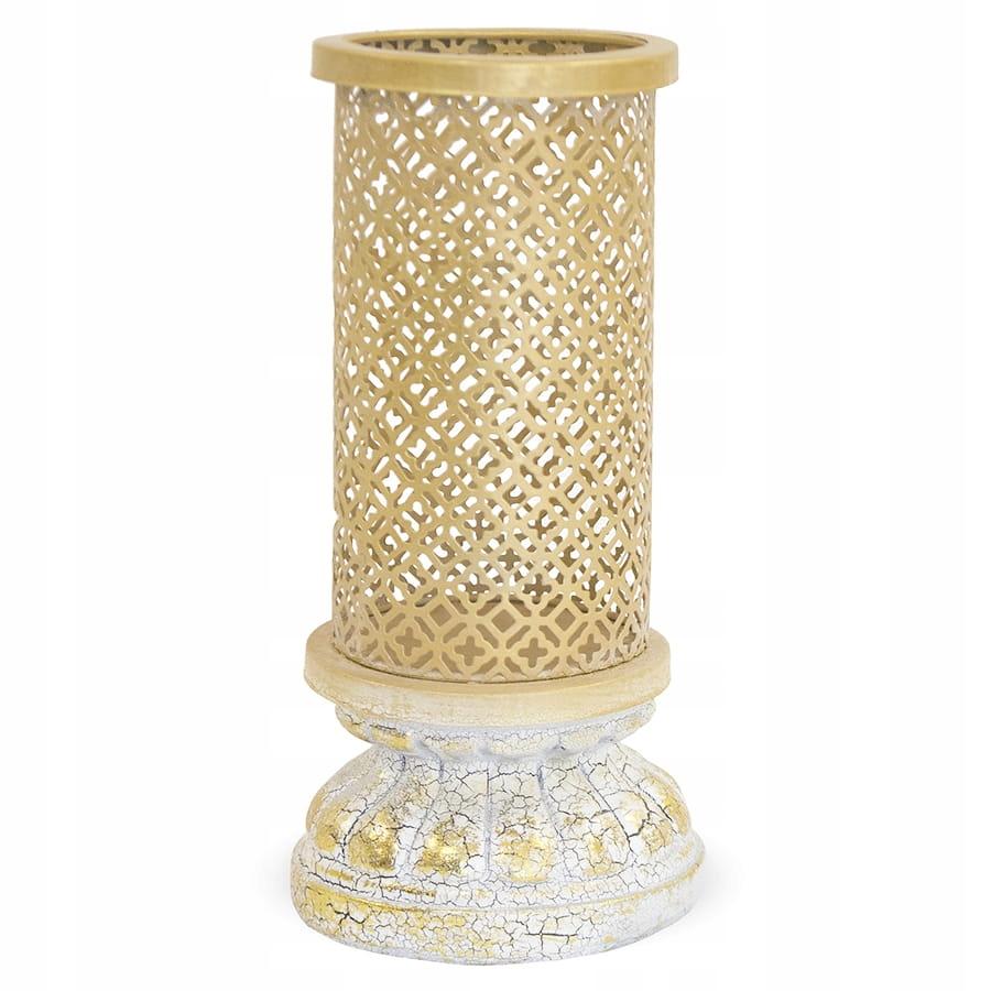 Štýlový zlatý svietnik na vysokom retro stojane