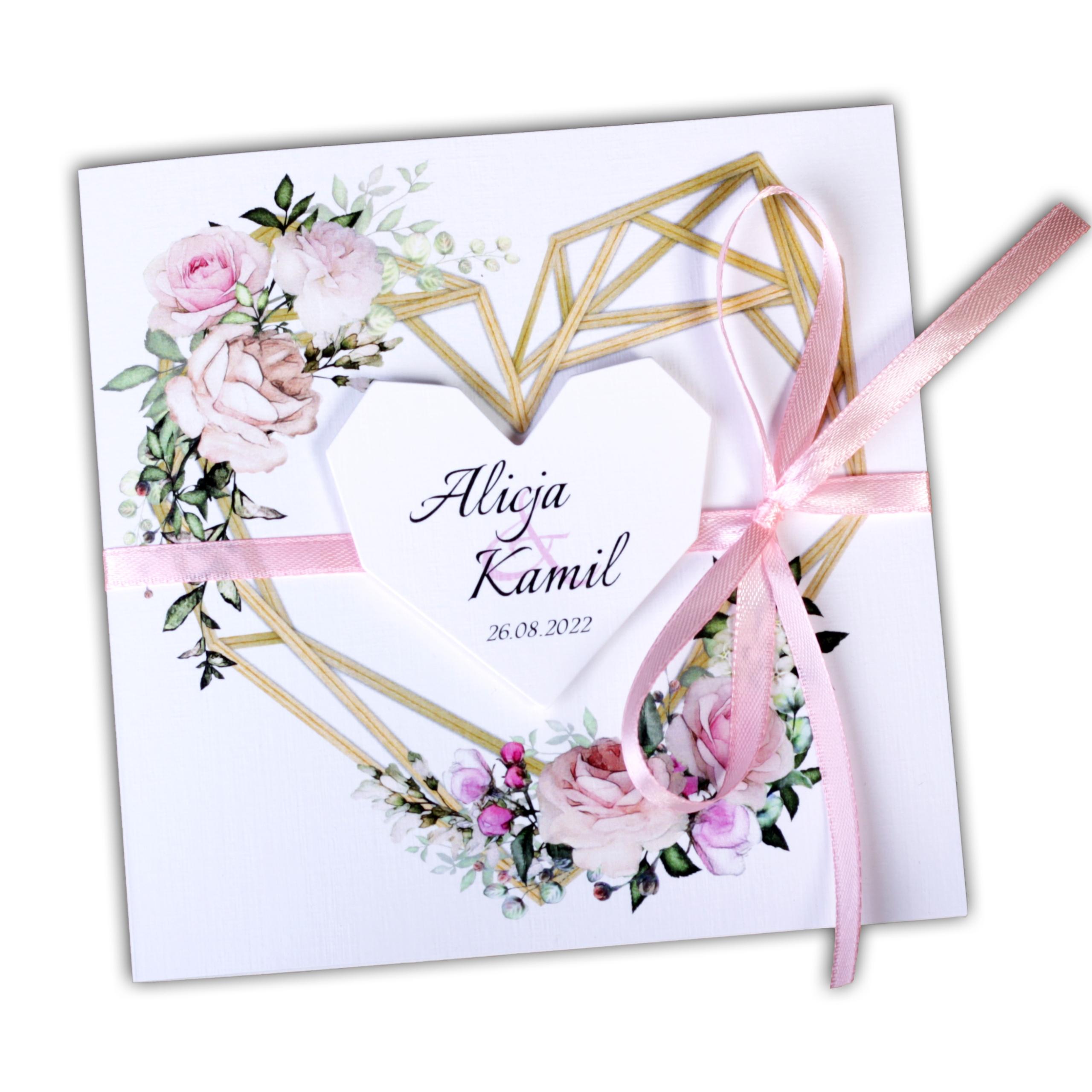 Геометрические свадебные приглашения на свадьбу BOHO HEART