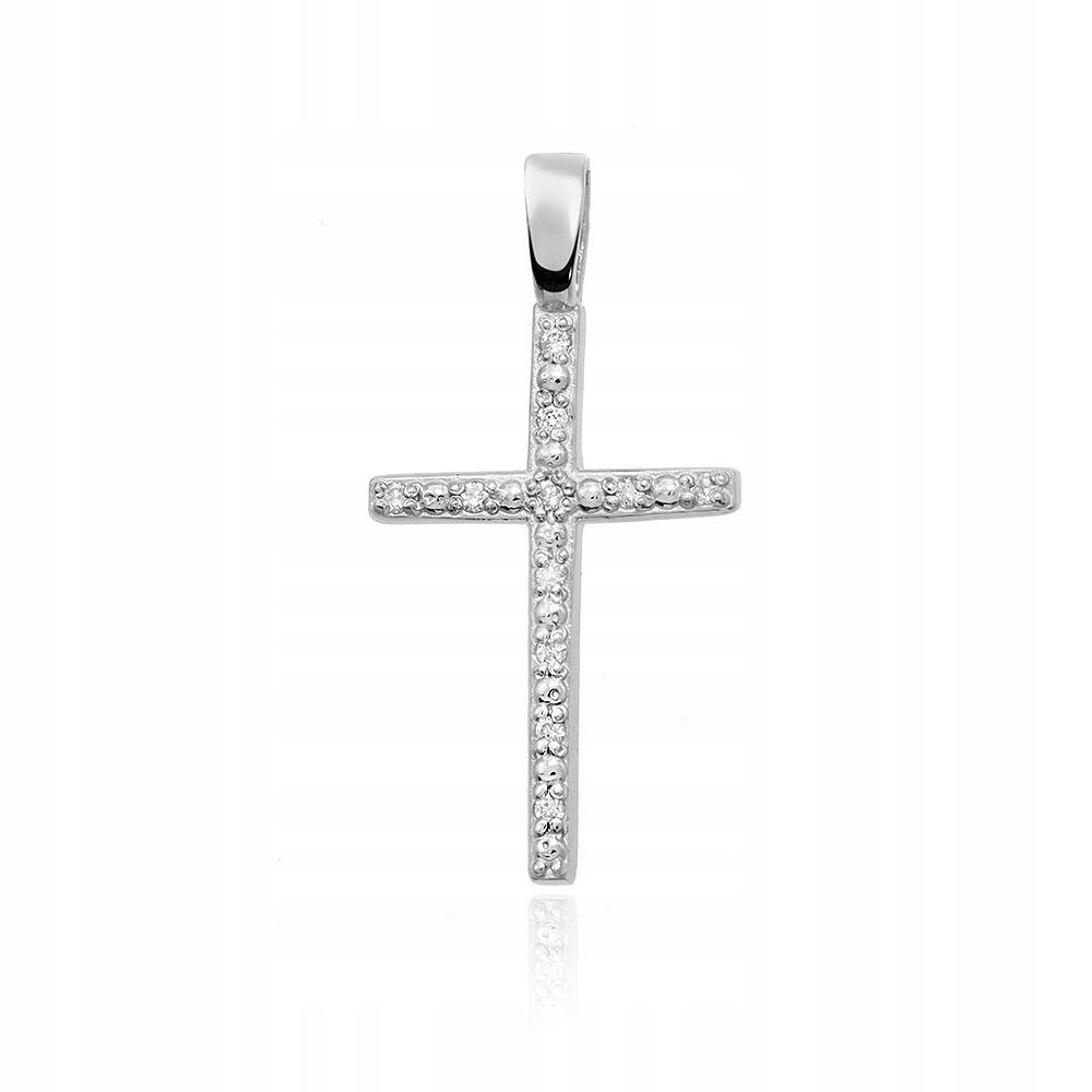 Prívesok s diamantom 585 kríž biele zlato 14k