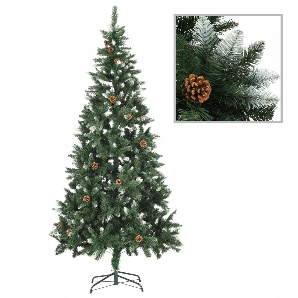 Umelý vianočný stromček so šiškami a bielymi trblietkami, 21