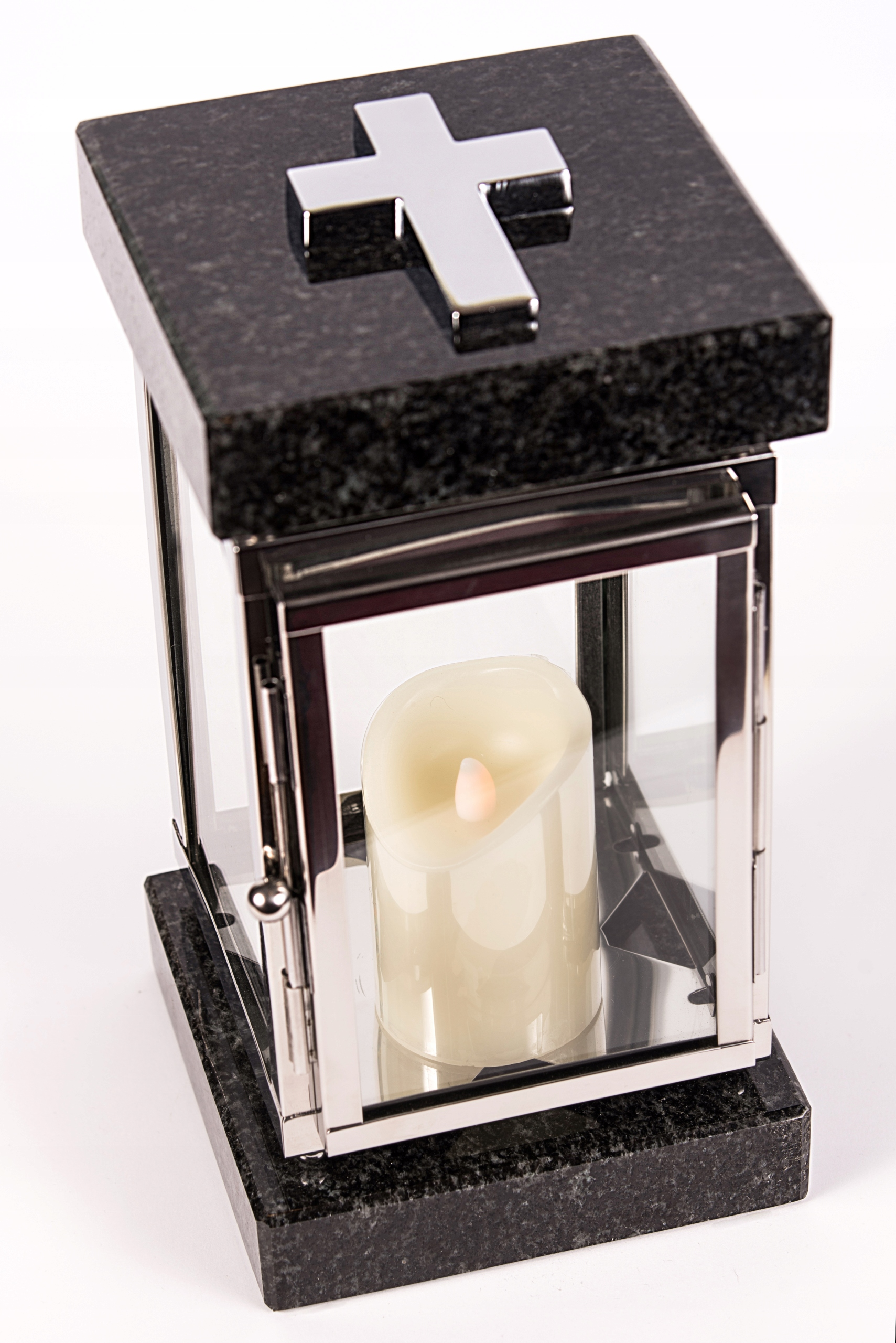 Серебряный надгробный фонарь, нержавеющая сталь + гранит