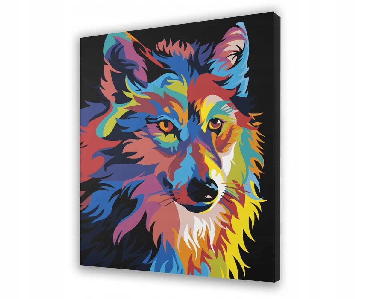 Colorful Wolf - Malować po numerach 40x50