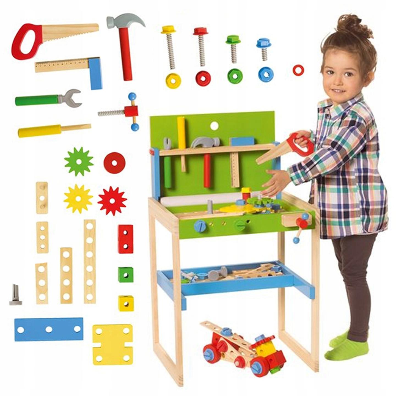 Stol Warsztatowy Drewniany Dzieci Wyposazeniem 8464949847 Allegro Pl