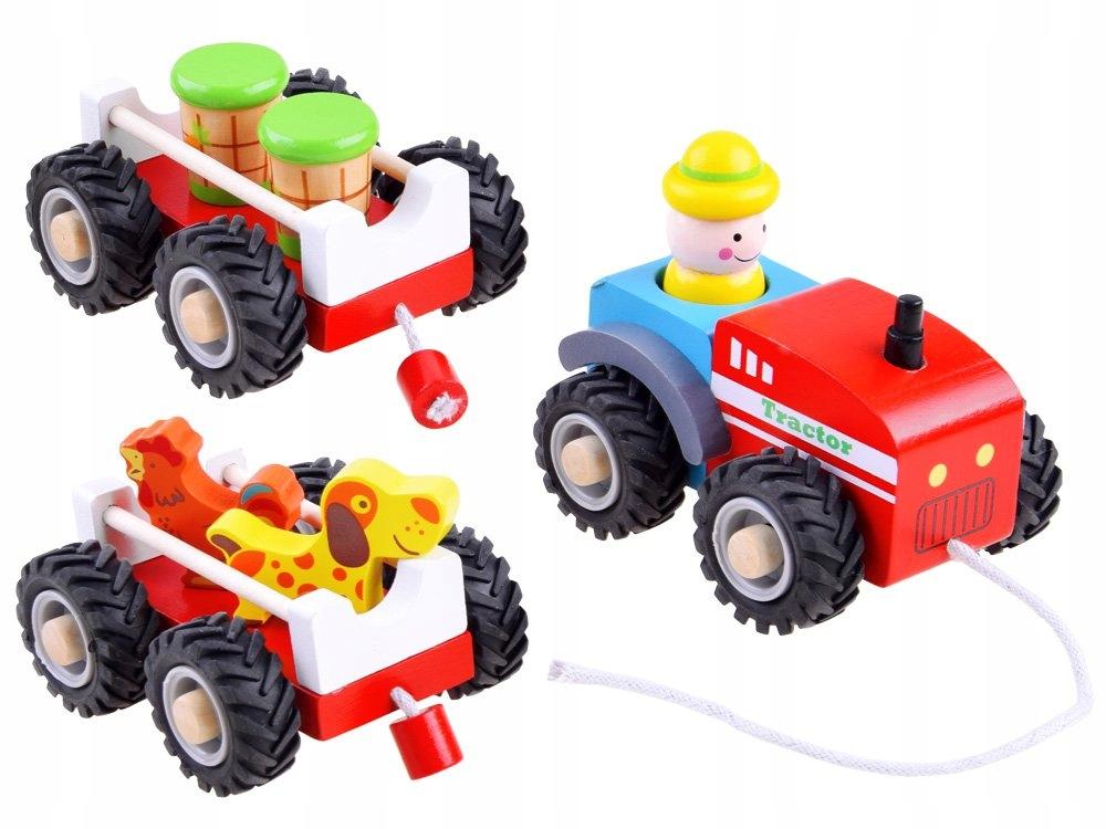 Traktor z przyczepą drewniana Kolejka farma ZA3566 Bohater inny