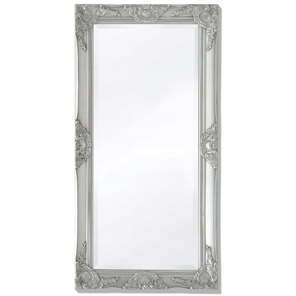 Barokové nástenné zrkadlo, 100 x 50 cm, strieborné