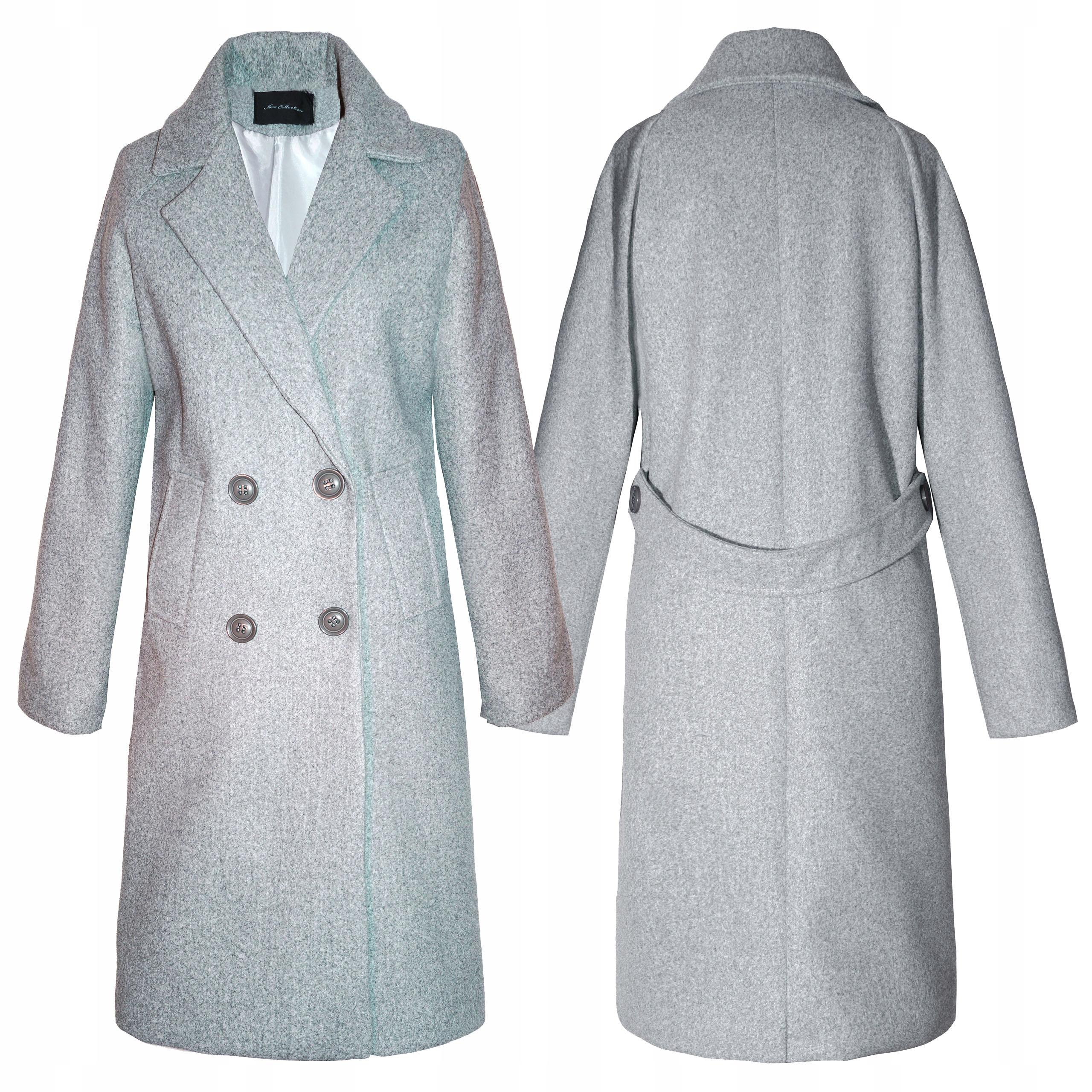 Klasyczny Płaszcz damski Przejściowy L 40 Siwy