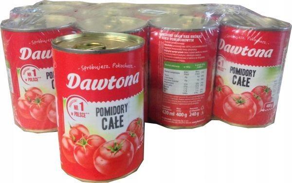 Pomidory całe bez skórki 400g Dawtona x 12 szt