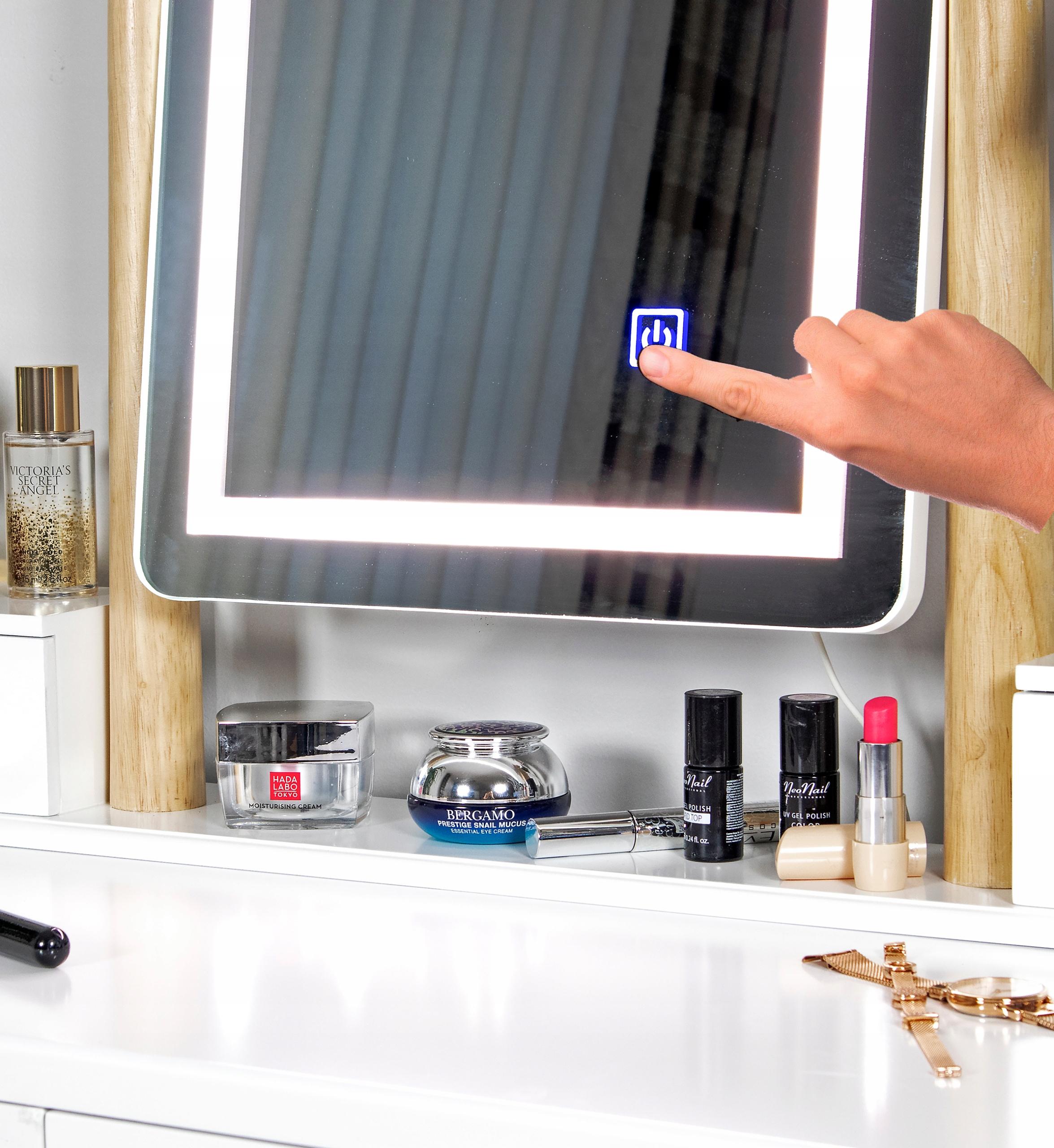 TOALETKA kosmetyczna z LUSTREM i TABORETEM +LED 4w Montaż meble do samodzielnego montażu