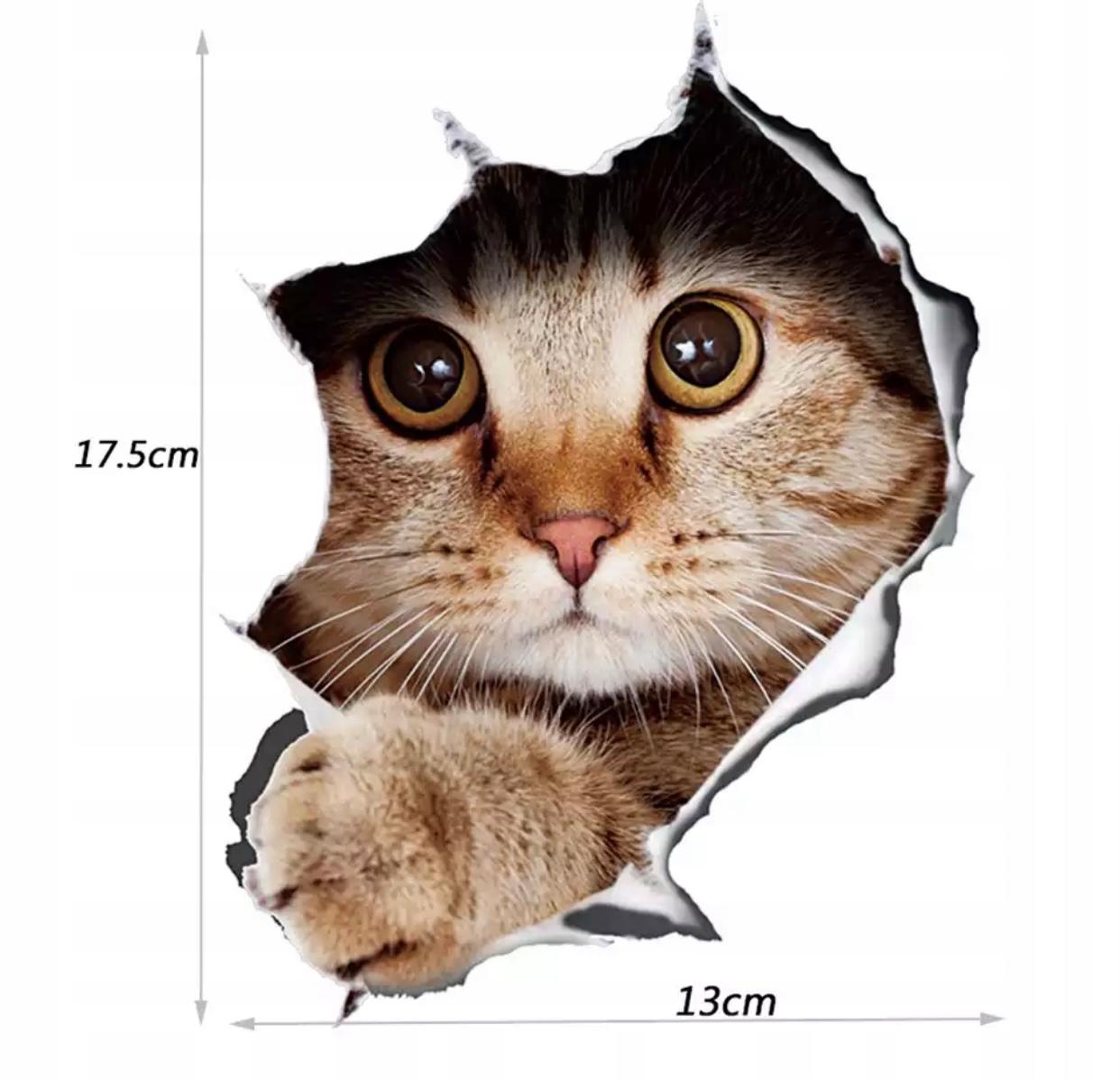 Naklejka 3D kot z dziurą dziura na samochód ściane Szerokość 13.5 cm