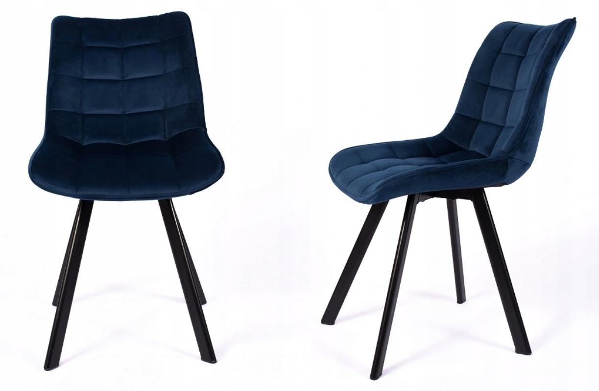 Krzesło Tapicerowane Pikowane Granatowe Welur Rodzaj nóg Profilowane