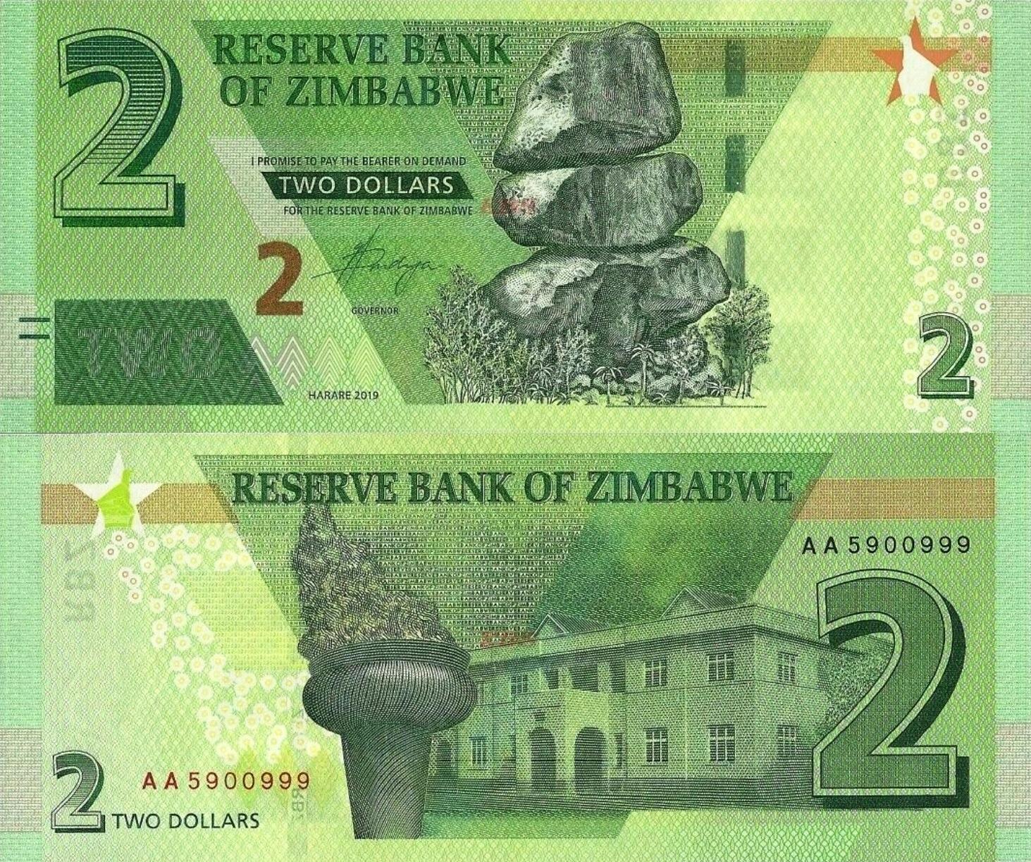 # ZIMBABWE - 2 DOLARY - 2019 - P-NEW - UNC