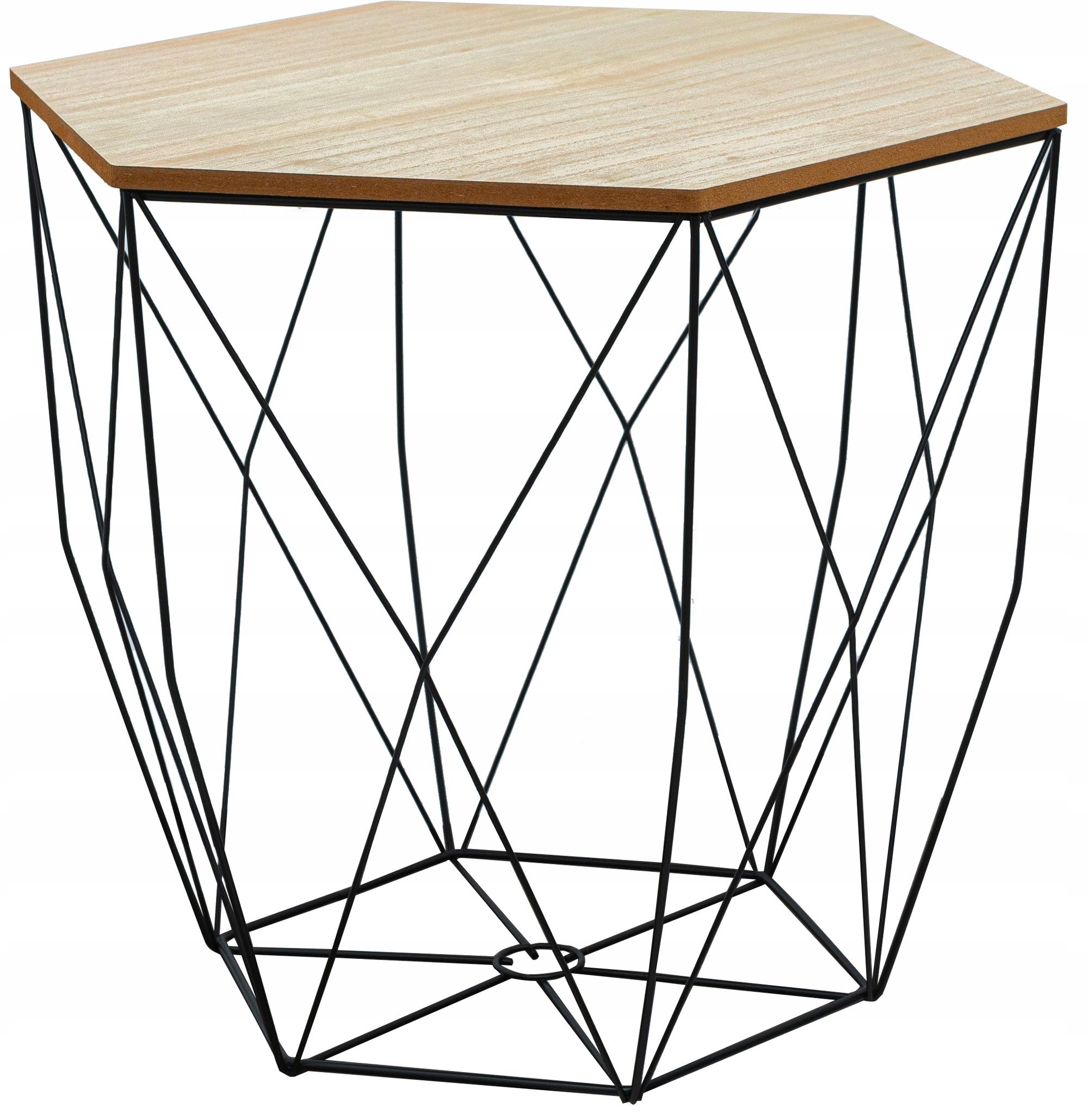 Druciany stolik kawowy Loft STÓŁ Kosz Rozmiar M