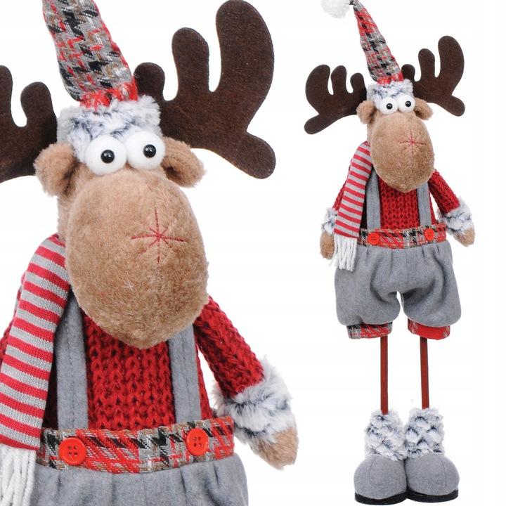RENIFER świąteczny DUŻY dekoracja ŁOŚ figurka
