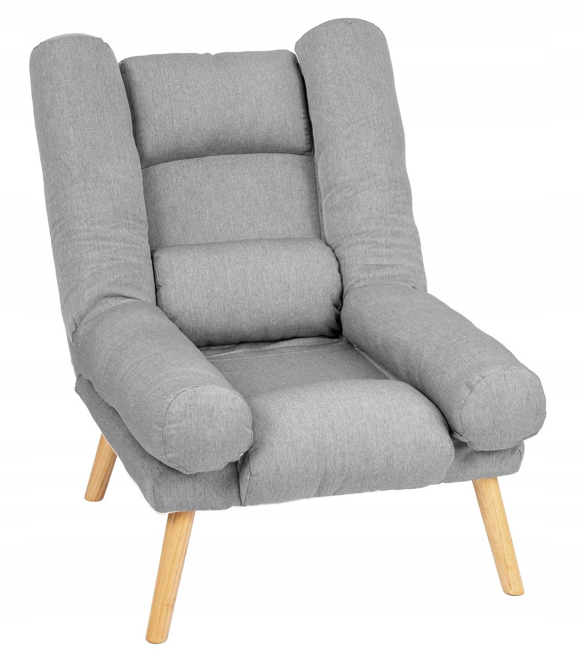 Fotel USZAK styl skandynawski SZARY z podnóżkiem Rodzaj rozkładany