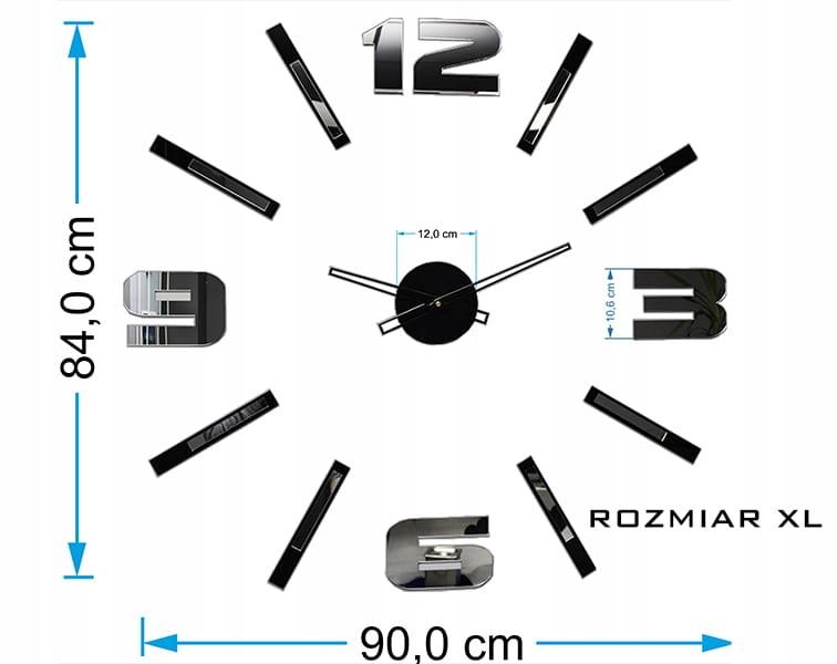 Настенные зеркальные часы Mirror Mase DIY XL BIG